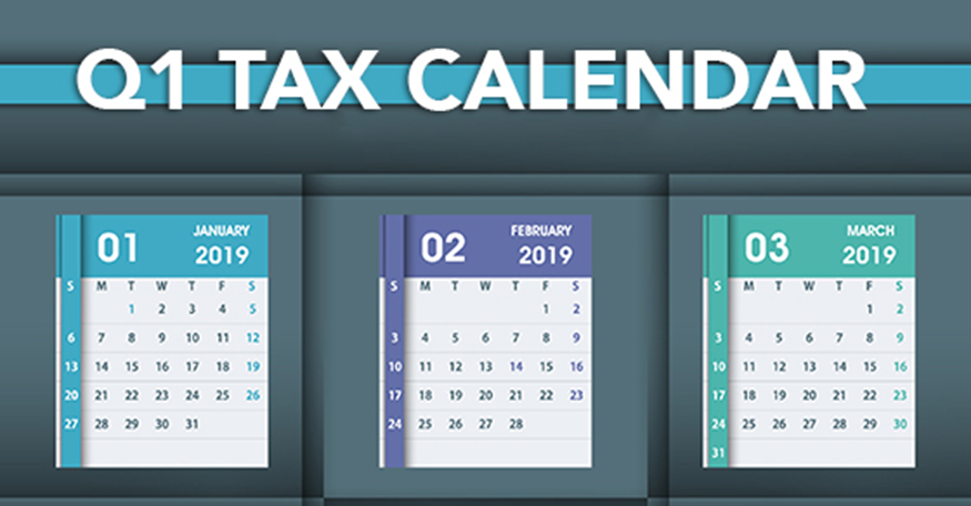 First Quarter Tax Calendar With Color Coded Months To Highlight Key Tax Deadlines