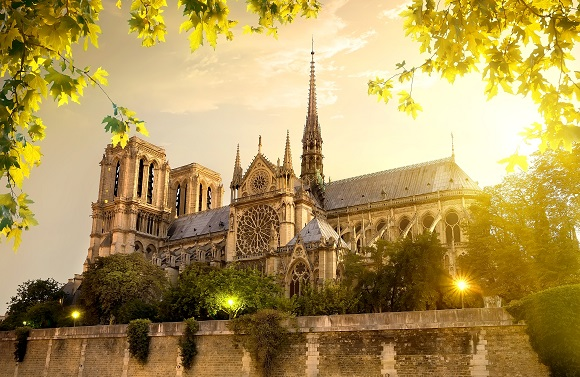 Notre Dame In The Glow Of The Setting Sun