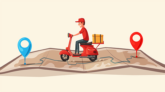 Man In Red Shirt On A Red Scooter Driving Across A Map
