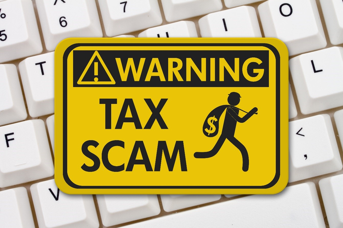 Tax Scam Yellow Warning Sign