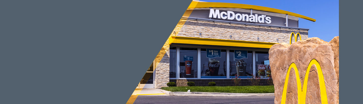 Outside exterior of a McDonalds restaurant location