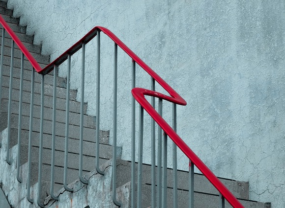 Stairs Red Handrail